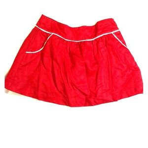 Red & White Piped Flare Skirt